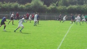 Larkhall Thistle break in the first half at St Anthonys