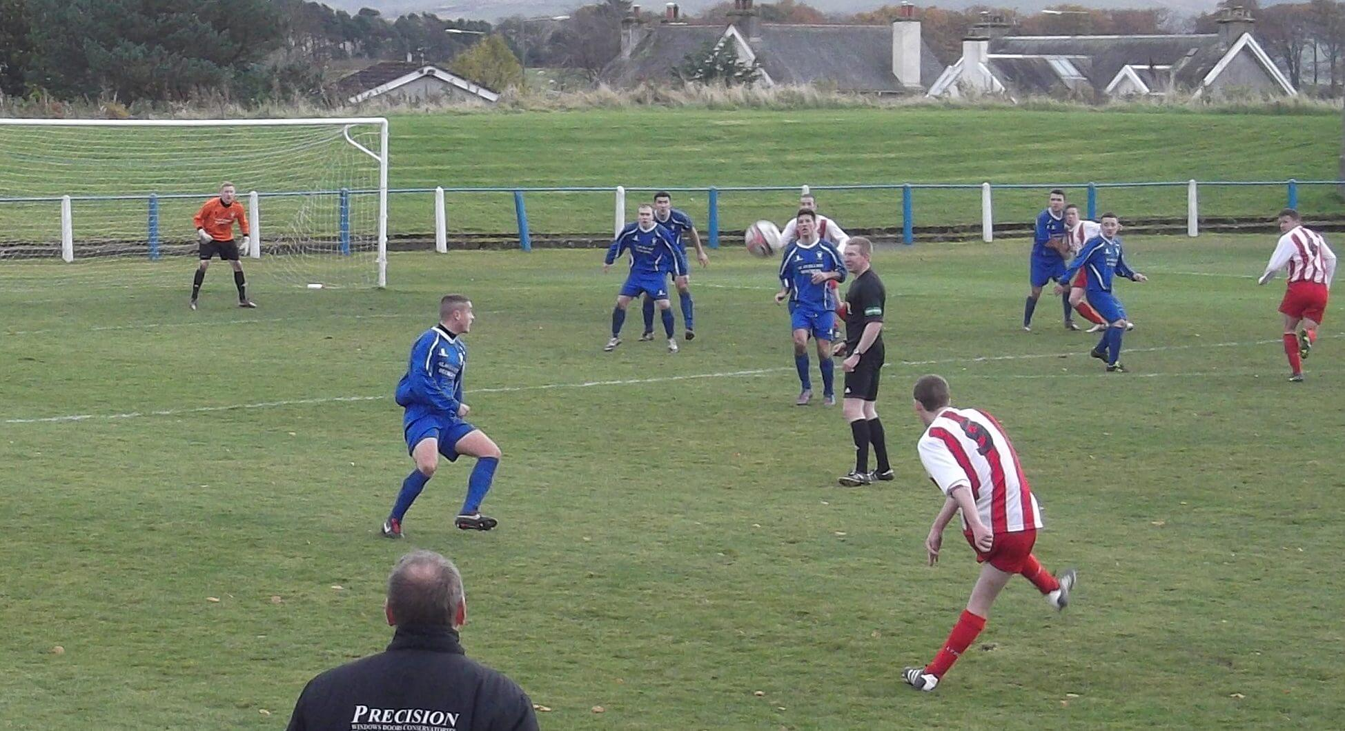Larkhall Thistle's Graham Gracie delivers a great cross for Mark McKeever to head