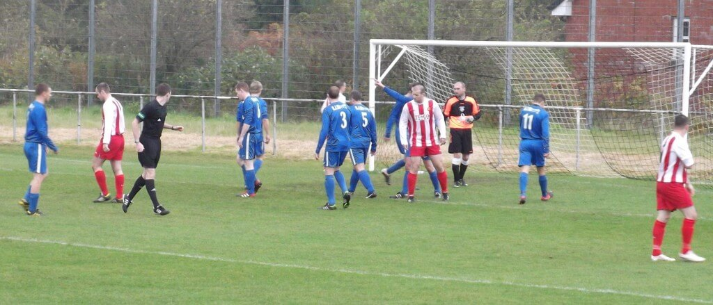 Larkhall Thistle attack in the first half against Dunipace