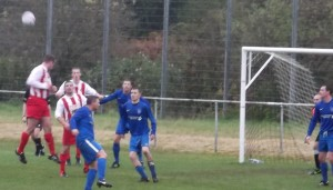 Larkhall Thistle goclose in the first half against Dunipace