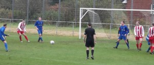 Larkhall Thistle's Mark Canning looks on as a shot goes in against Dunipace