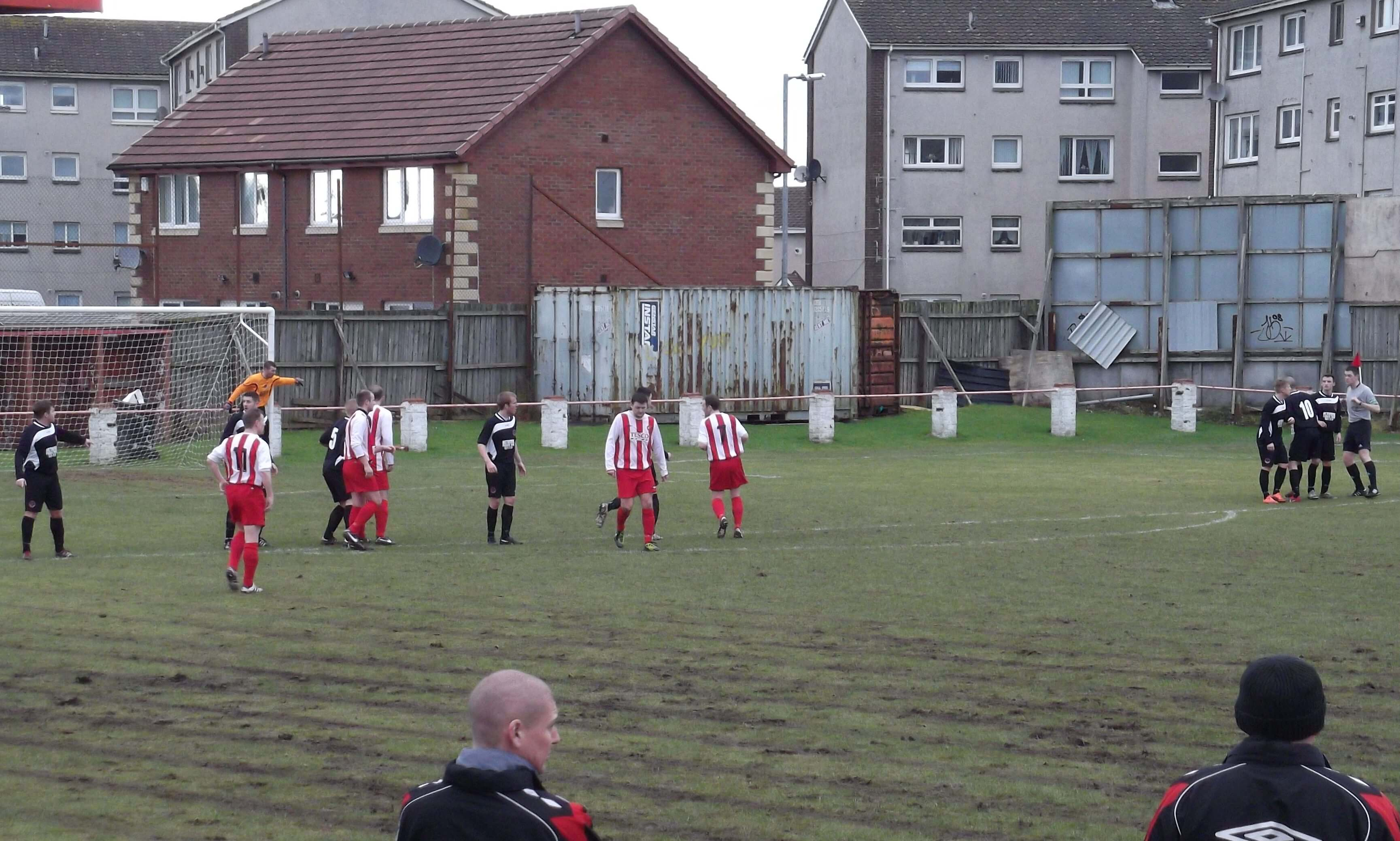 Thistle line up a first half free kick against Shettleston