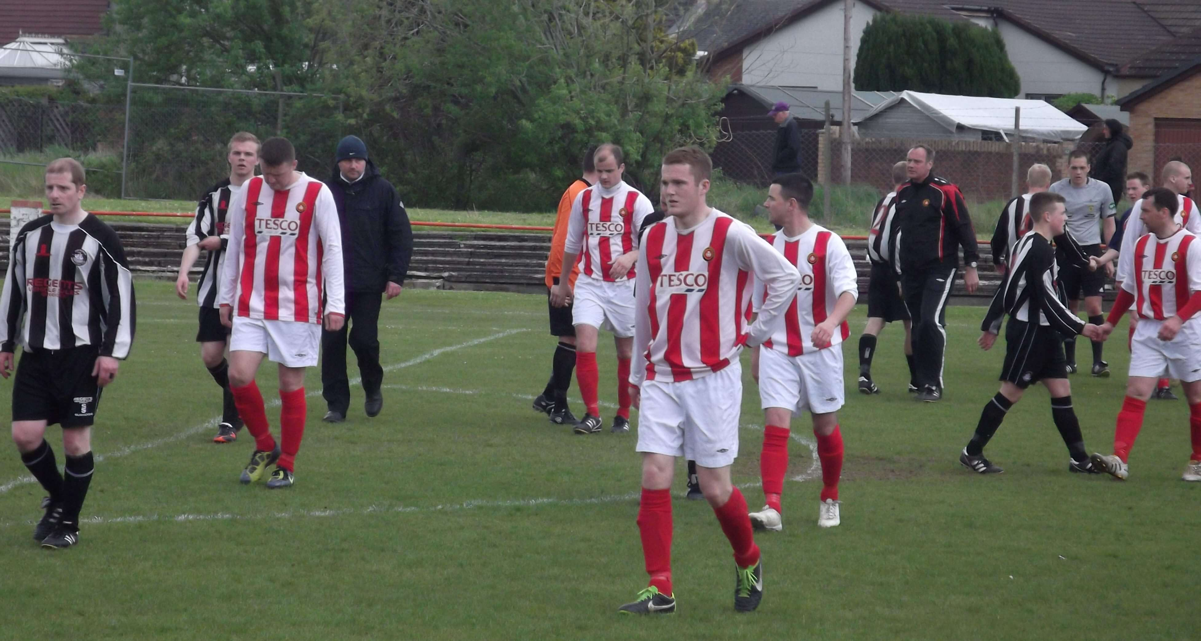 Thistle players troop off having heard the score from Lesmahagow