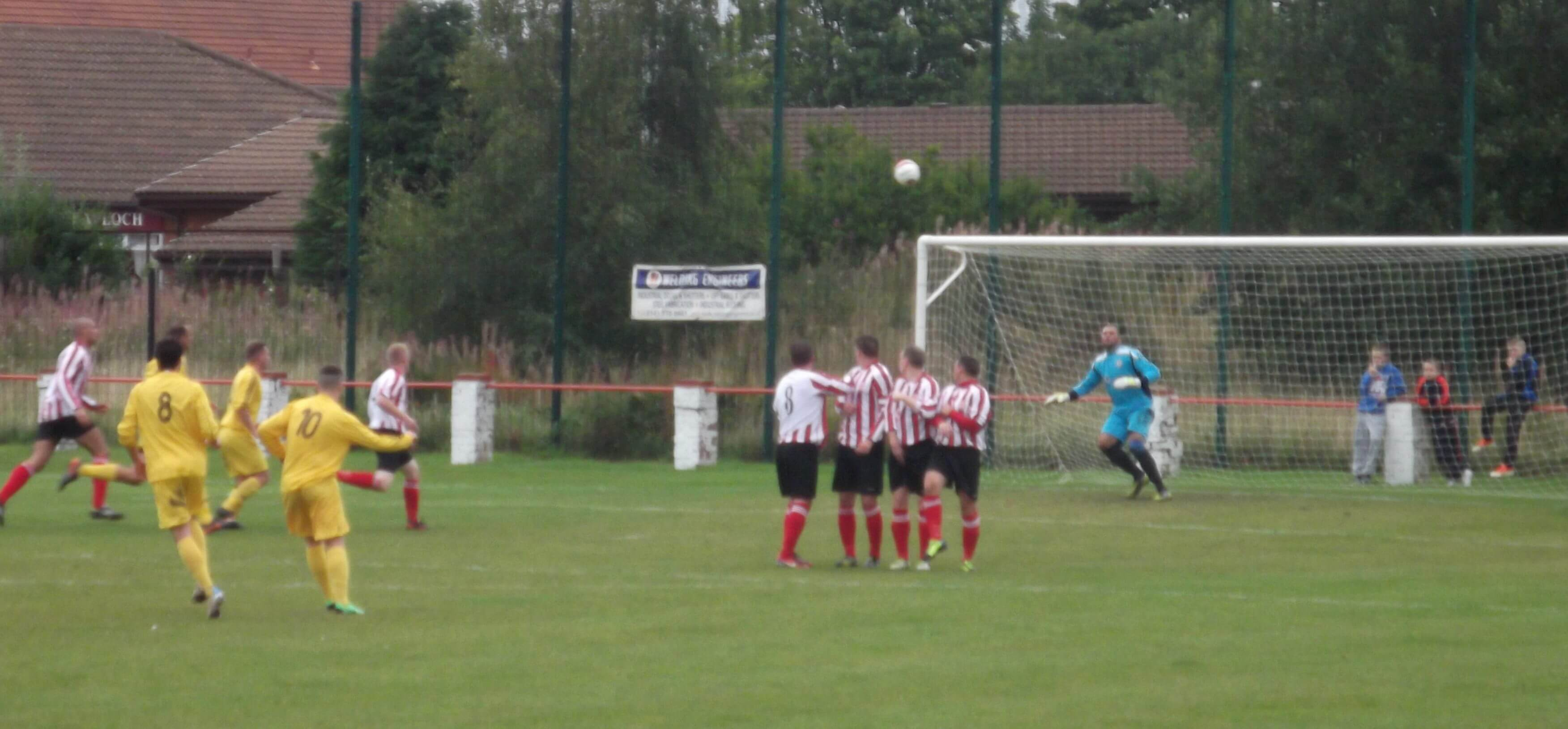 Thistle line up against Maryhill free kick that went close