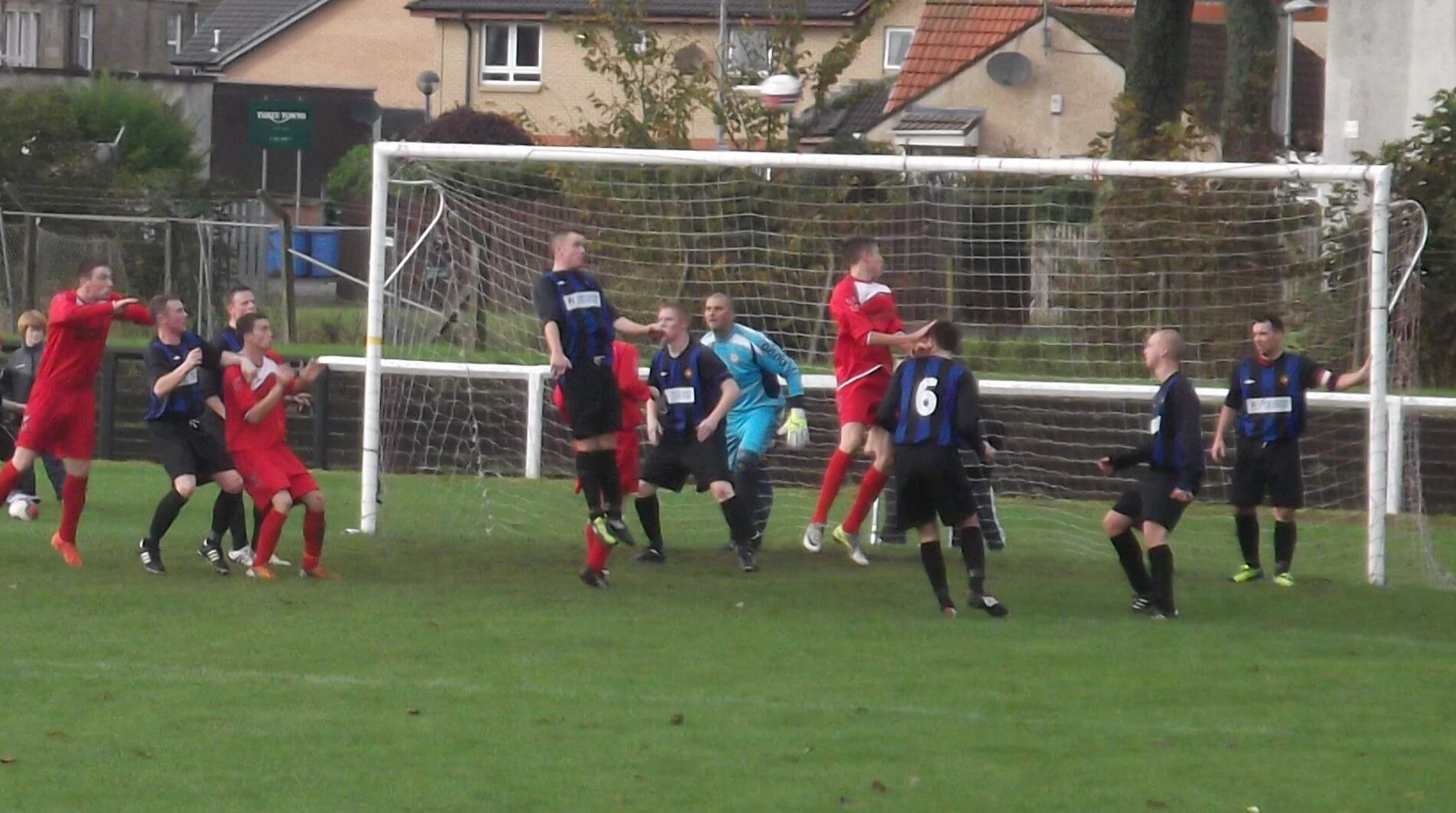 Header goes just over the bar as Ardeer come back into it