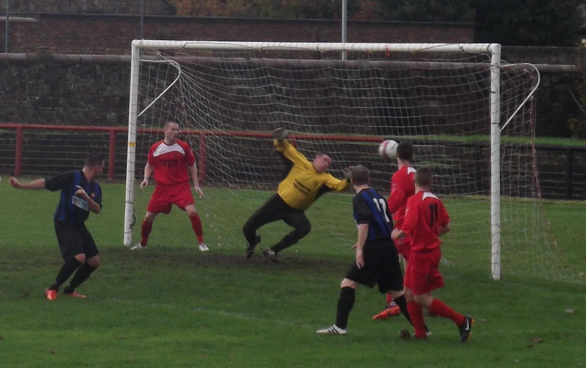 Scott McLachlan heads past helpless Ardeer keeper for Thistle's first goal