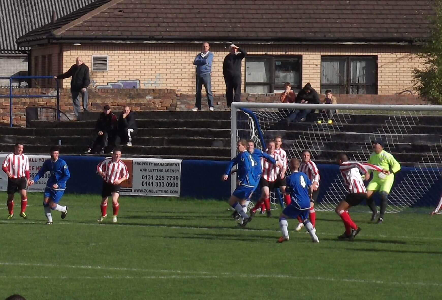 Thistle defend their goal in the second half