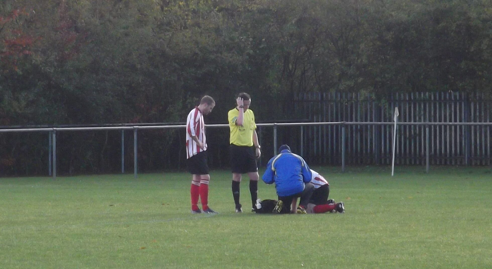 Andy Brown gets treatment for his injury