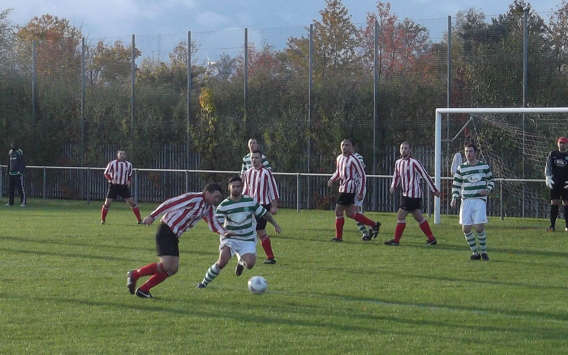 Mark Canning takes on St Anthony's defender in the first half