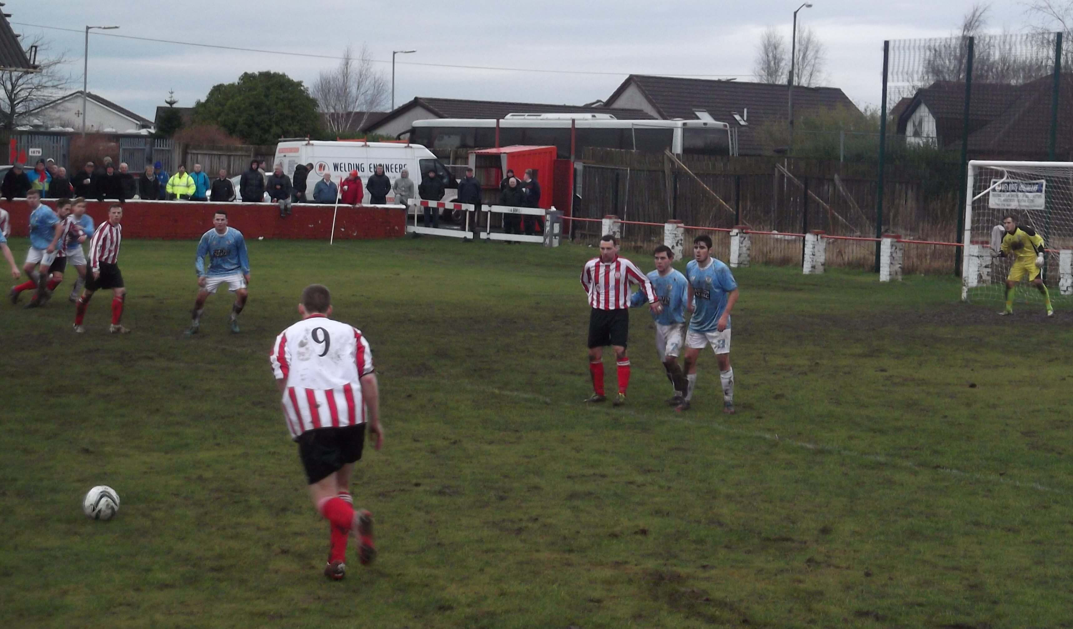 Graham Gracie lines up a second half free kick
