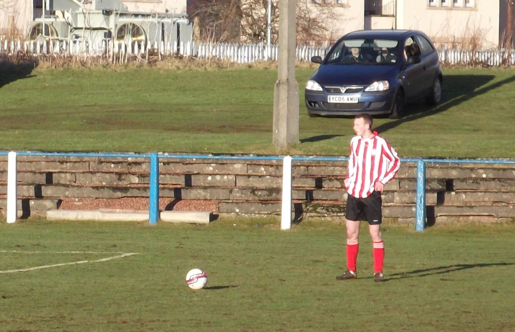 Graham Gracie lines up a first half free kick