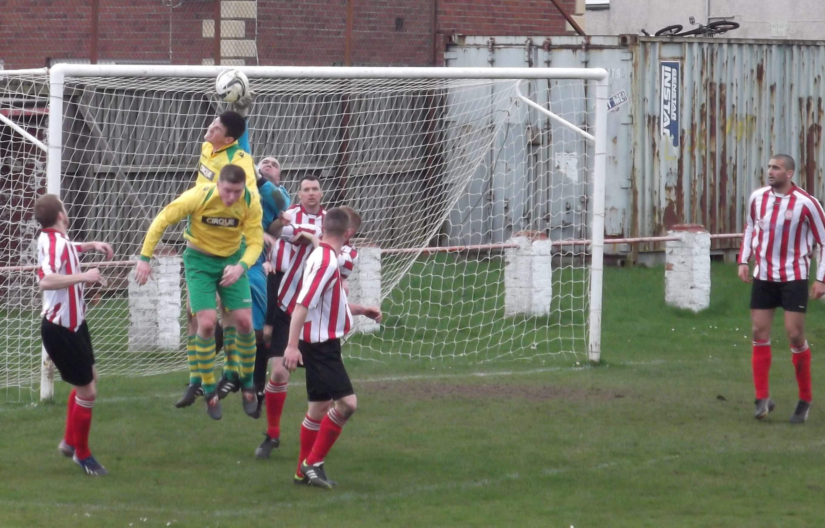 Lee Moss gets up well to save in the second half
