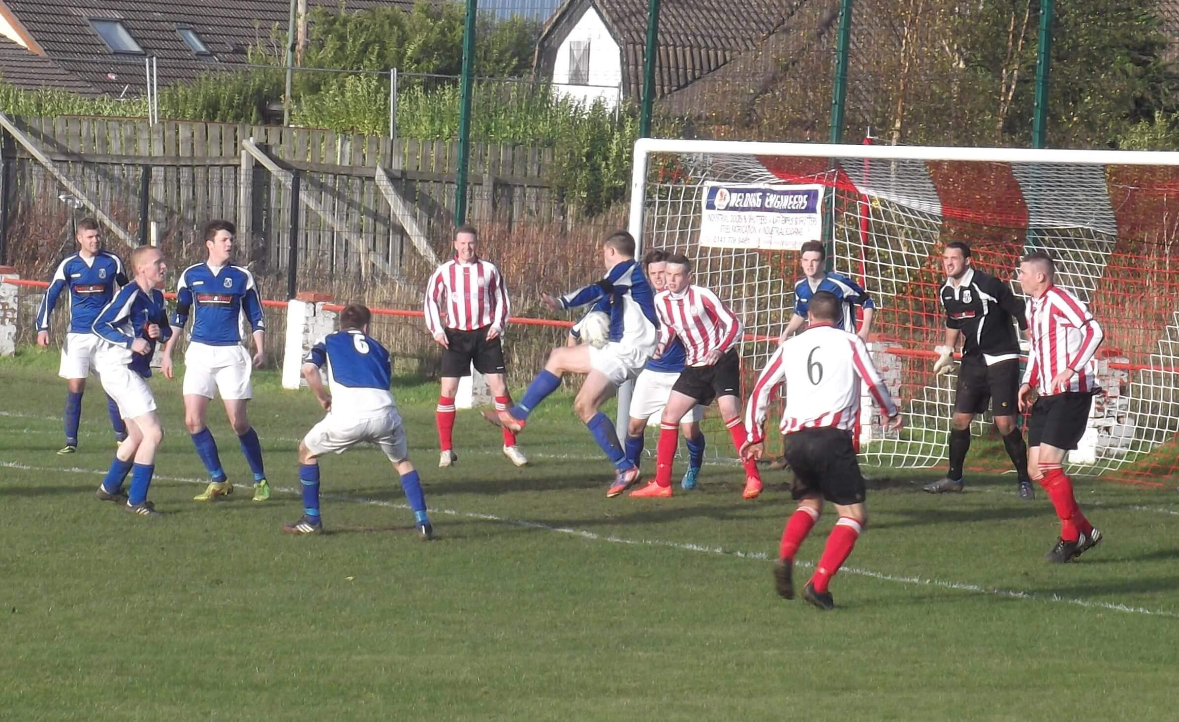 Second half penalty claim as defender appears to almost catch the ball